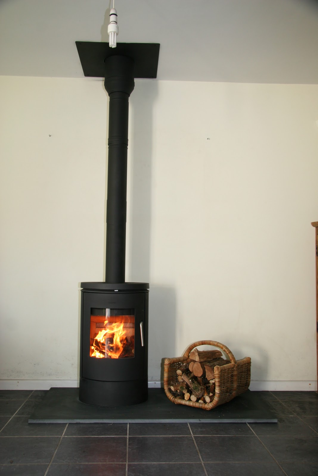 wood stove pipe installation through wall k