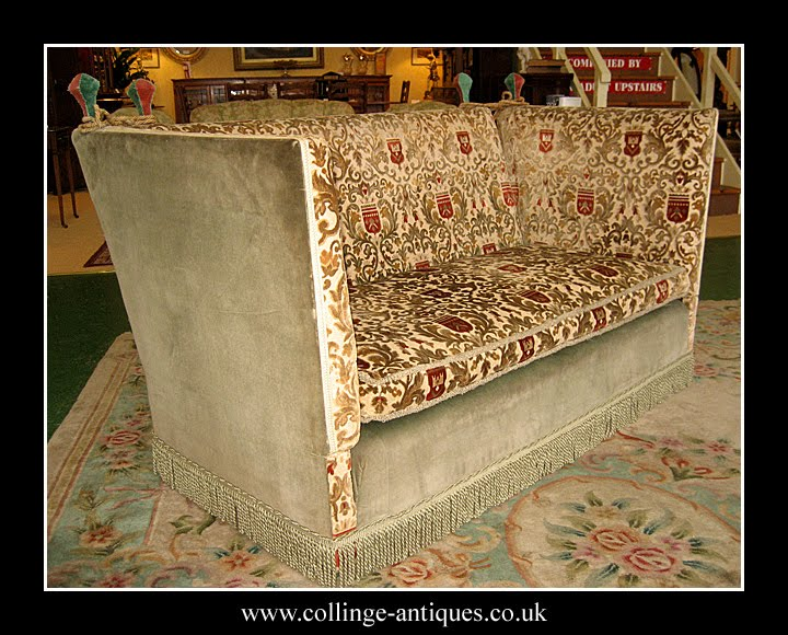 ... A Fabulous Little Knole Sofa C.1930 Which Has Just Arrived Here This  Afternoon. Very Unusual And Original Heraldic Damask Fabric If Very Good  Condition.