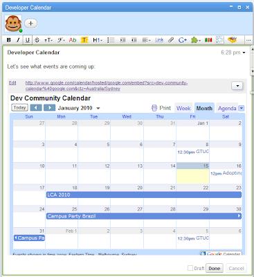 Calendar-Ansicht in Wave