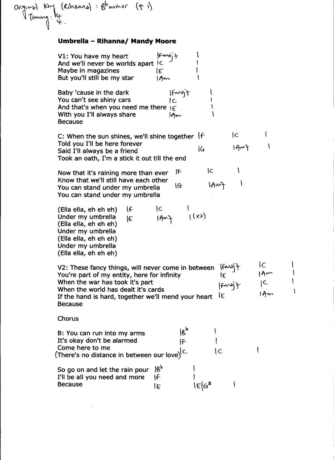 Providing Accurate Chords Umbrella Rihanna