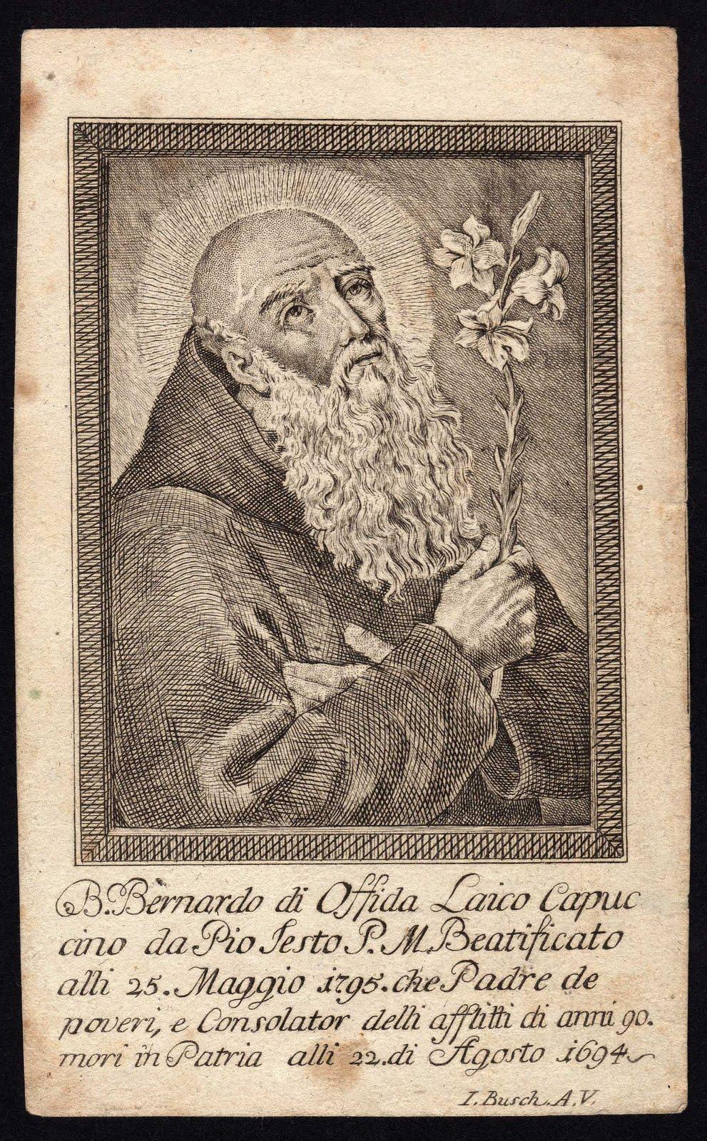 Beato Bernardo da Offida Magistrale incisione a bulino su rame su bella  carta vergellata. Collezione privata Galanzi 1eb84334aeef