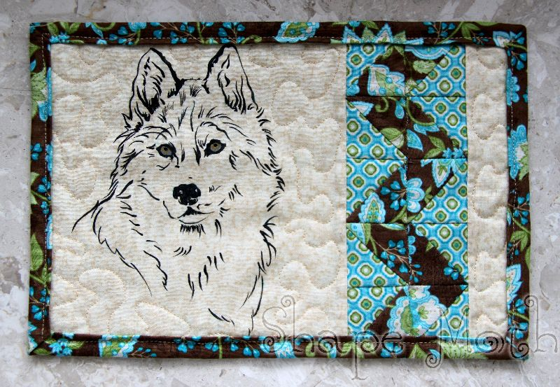 Shape Moth Mug Rug With Wolf Quilting And Painting On