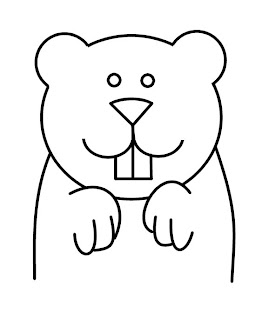 Simple Groundhog Coloring Page