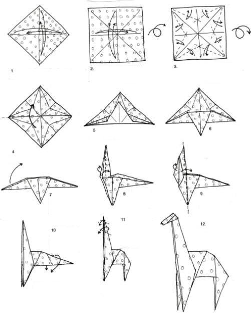 origami giraffe diagrams embroidery origami