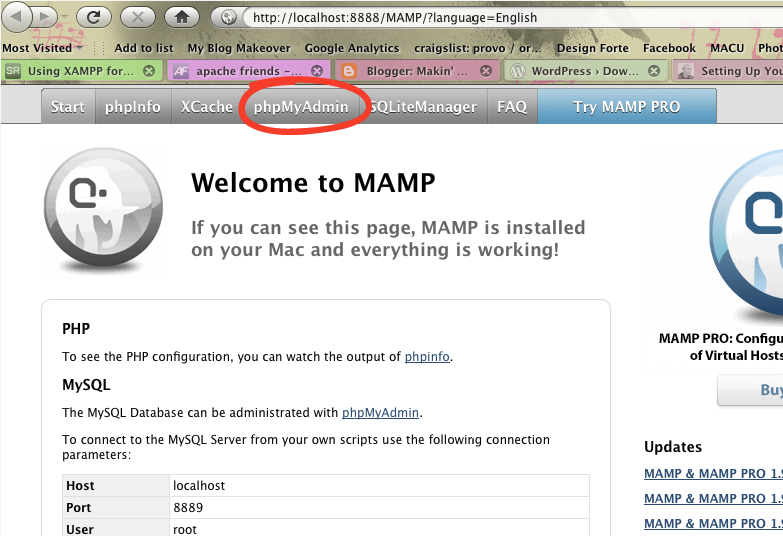 Using MAMP to design and test Wordpress Themes without