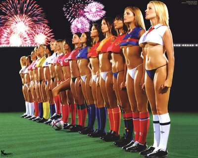 Body paint women soccer team