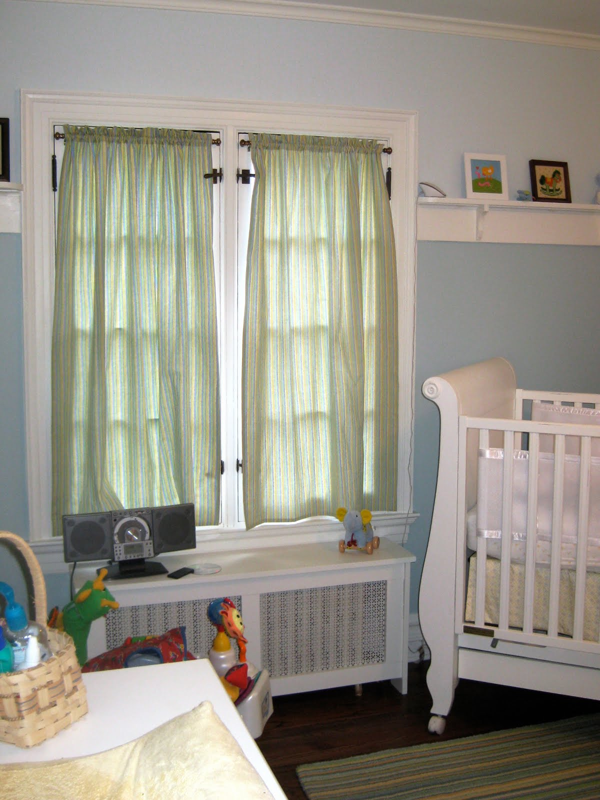 Here Is The Completed Room With Window Treatments And A Cover For Radiator