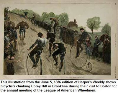 Illustration: Bicyclists climb Corey Hill during their visit to Boston for the annual meeting of the League of American Wheelmen. From Harper's Weekly, June 5, 1886