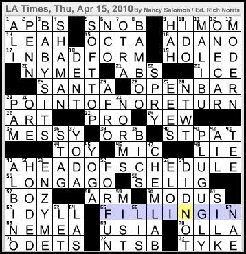Latimes Crossword Corner