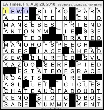 Latimes crossword corner donna s levin answer grid malvernweather Image collections