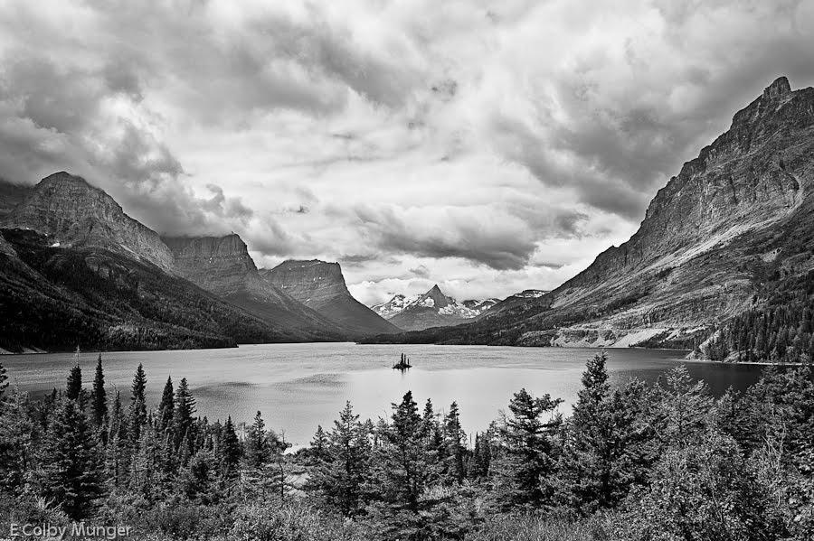 Glacier national park in black and white