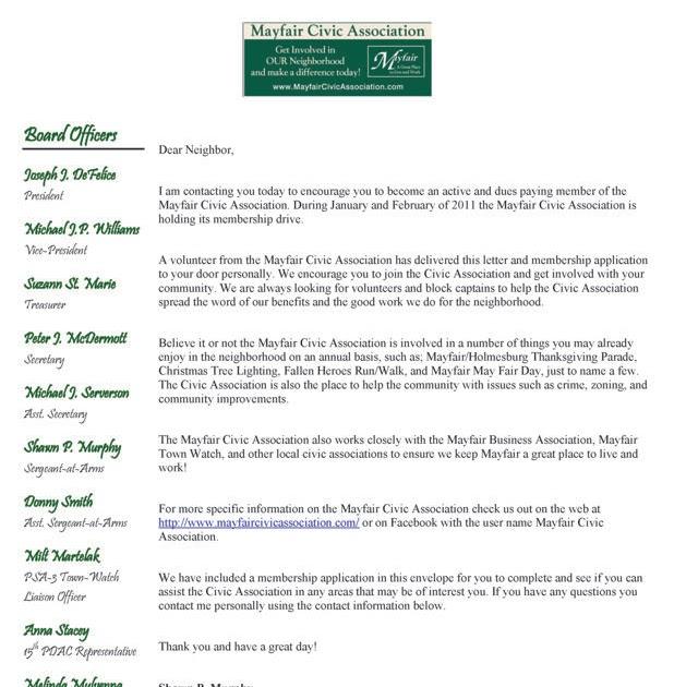 Mayfair Civic Association Mayfair Civic Membership