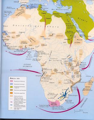 Mapa del proceso de expansión europea en África (creartehistoria)