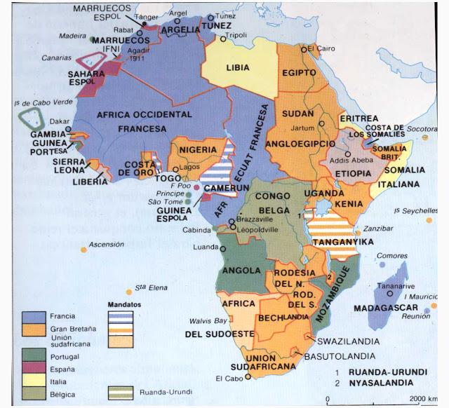 Principales metrópolis y sus colonias en África (creartehistoria)