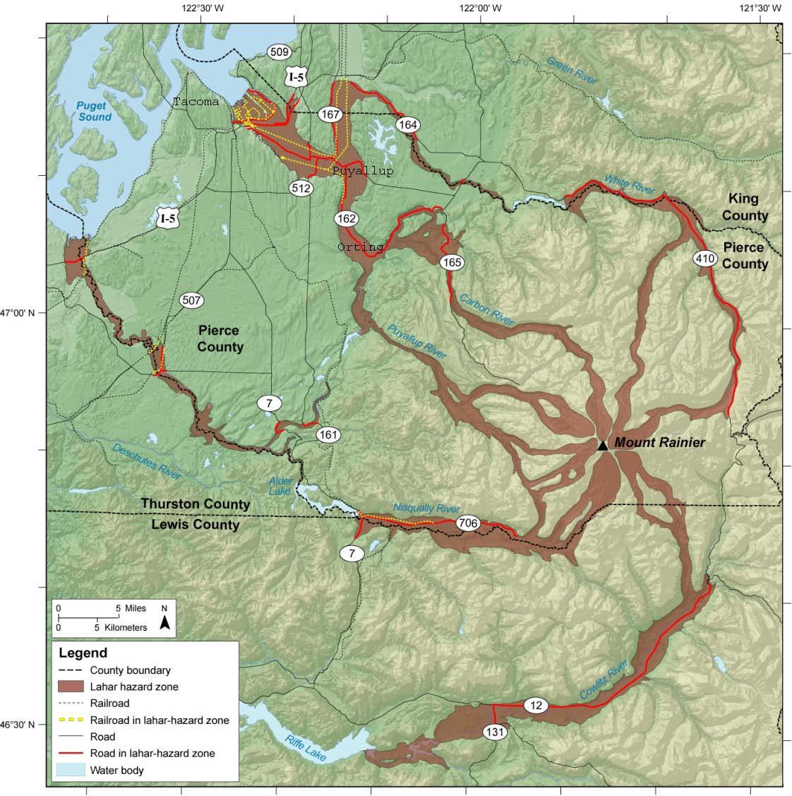 mount rainier lahar hazard map. reading the washington landscape mount rainier lahar hazard map