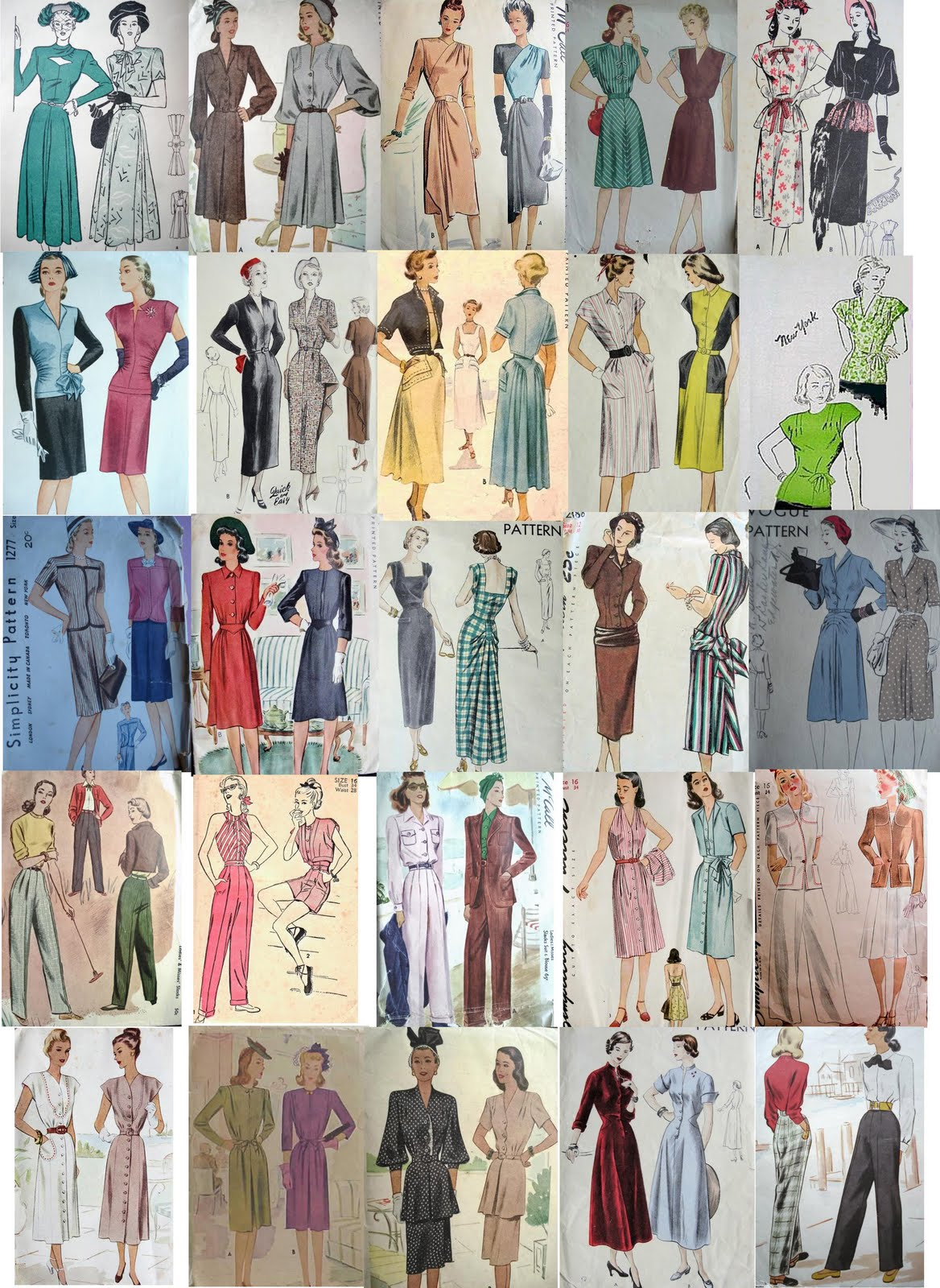 Forties Fashions: 1940's Fashion Designs for Sewing Patterns