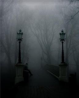 Мостик в туманном парке.