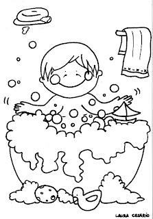 Paint A Drawing Dibujo De Un Niño Bañándose Para Imprimir Y