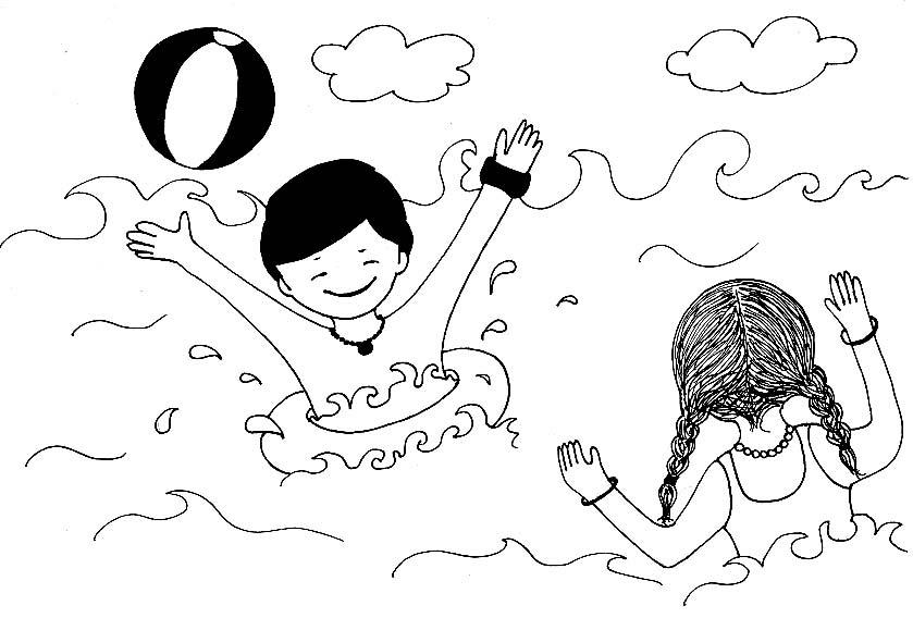 Dibujos Para Imprimir Y Colorear Dibujo De Niños Jugando Con Una Pelota