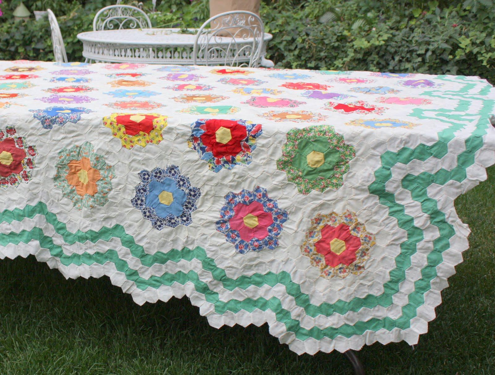 Antique Grandmother's Flower Garden Quilt