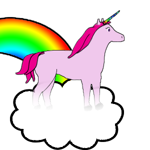 Doberman Unicorn On A Rainbow Cloud