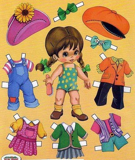 Muñecas para recortar: Muñecas con vestidos para recortar