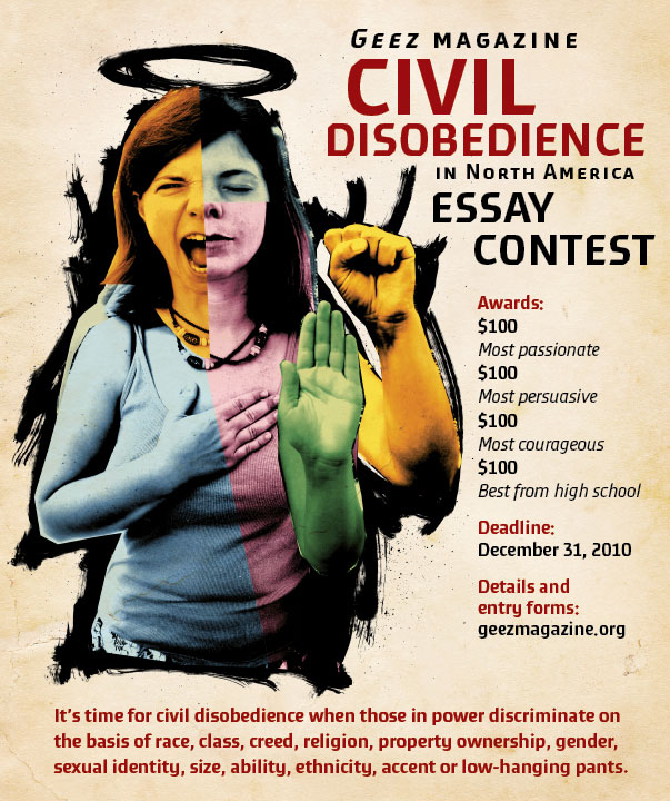 darryl brown design and illustration geez civil disobedience  geez civil disobedience essay contest