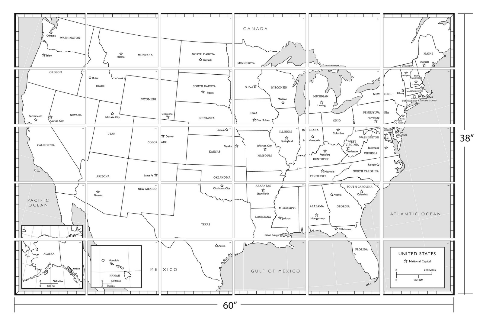 50 States Map Without Names