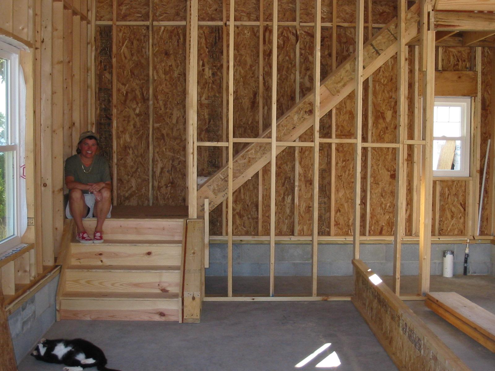 Steve & Jackie's new house: Garage stairs & more bricks
