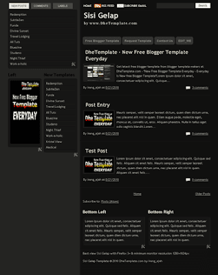 free blogger template sisi gelap with dark color and tabview ready also 3 column blogger template