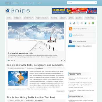 Snips blogger template. pagination for blogger ready. magazine style template blog. image slider template blog