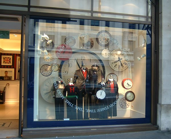 Clockprops Hackett S Window Display Featuring Our Vintage