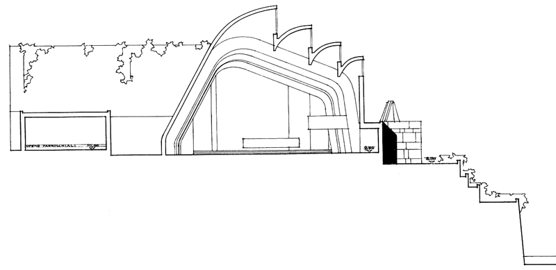 In this section sketch of Riola Church, by Alvar Aalto has very - church program
