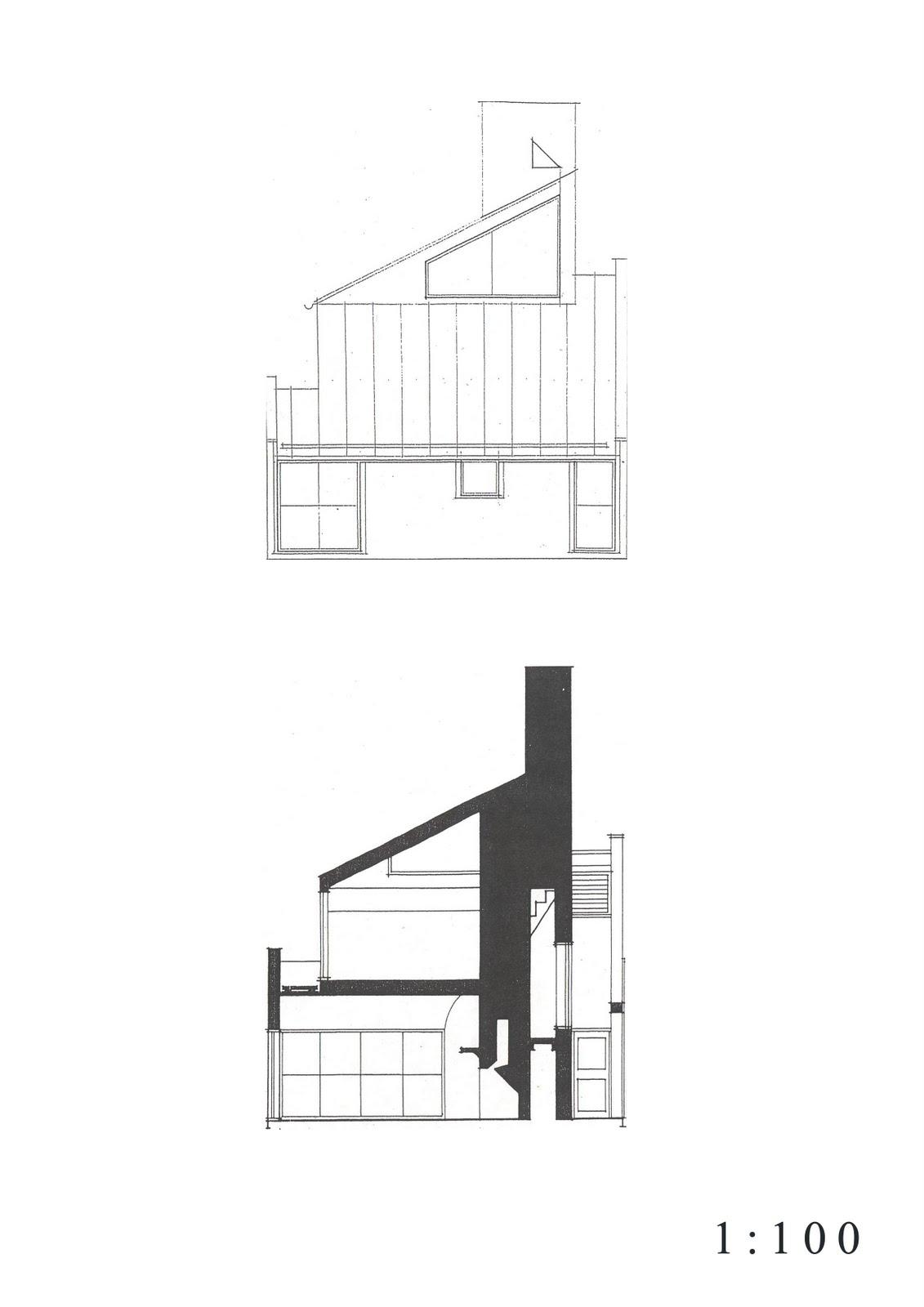Scale100_A4_03 Vanna Venturi House Plan Section Elevation on fisher house elevation, vanna venturi interior, kaufmann house elevation, eames house elevation, vanna venturi sections dimensions, tugendhat house elevation,