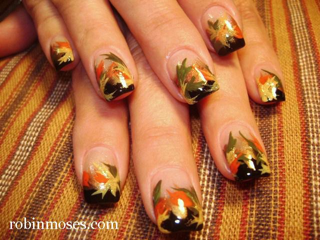 """""""fall thanksgiving autumn nail art"""" """"autumn leaves nail ..."""