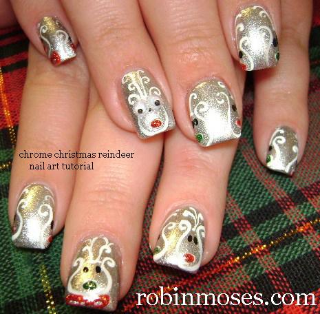 holly nail art for short nails easy - Easy Christmas Nail Art For Short Nails