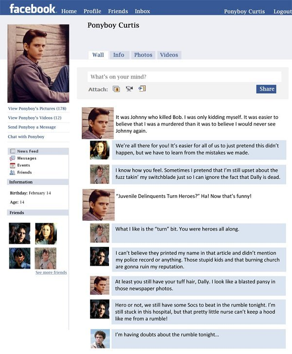 Classroom in the cloud the outsiders final project facebook for Facebook templates for projects