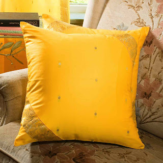 colorful cushion made from indian sari