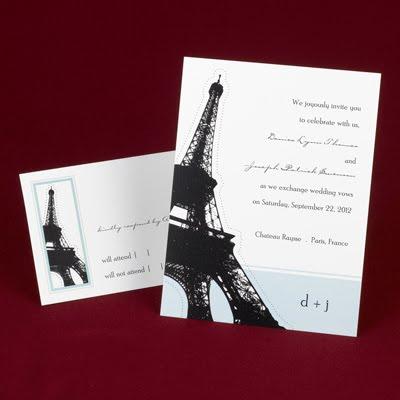 Eiffel Tower Wedding Invitations Paris