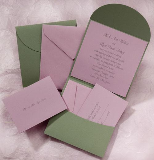 Carlson Craft Pocket Wedding Invitations: The Purple Mermaid: Sage And Lilac Pocket Wedding