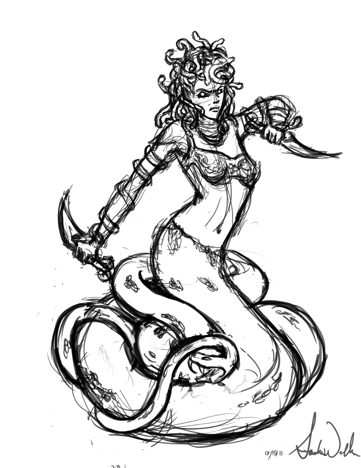 Free coloring pages of medusa for Medusa coloring pages