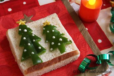 árboles navideños en pan de molde
