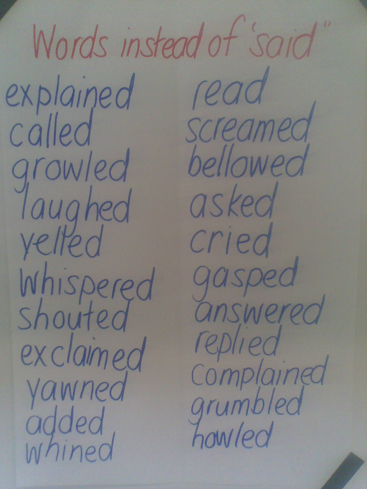 Room 9 Words Instead Of Said