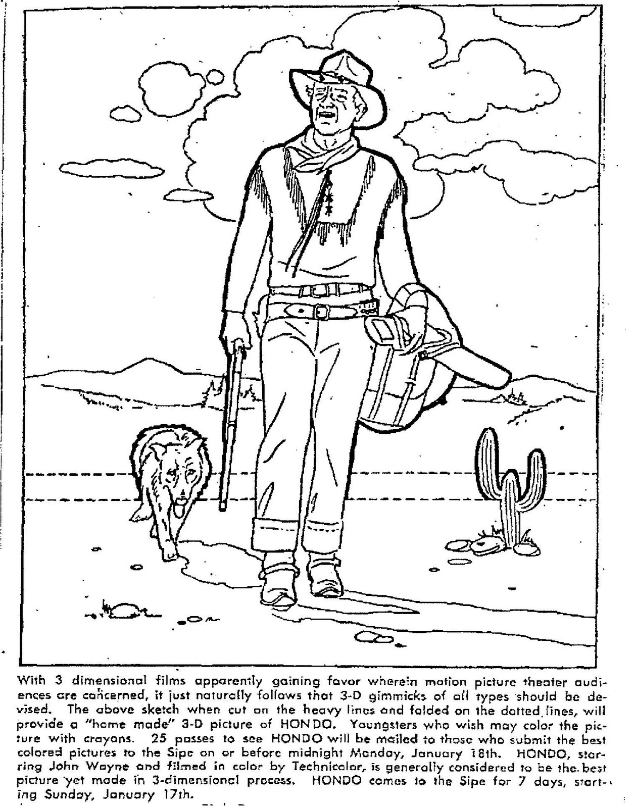 Mostly Paper Dolls Hondo Movie Coloring Contest