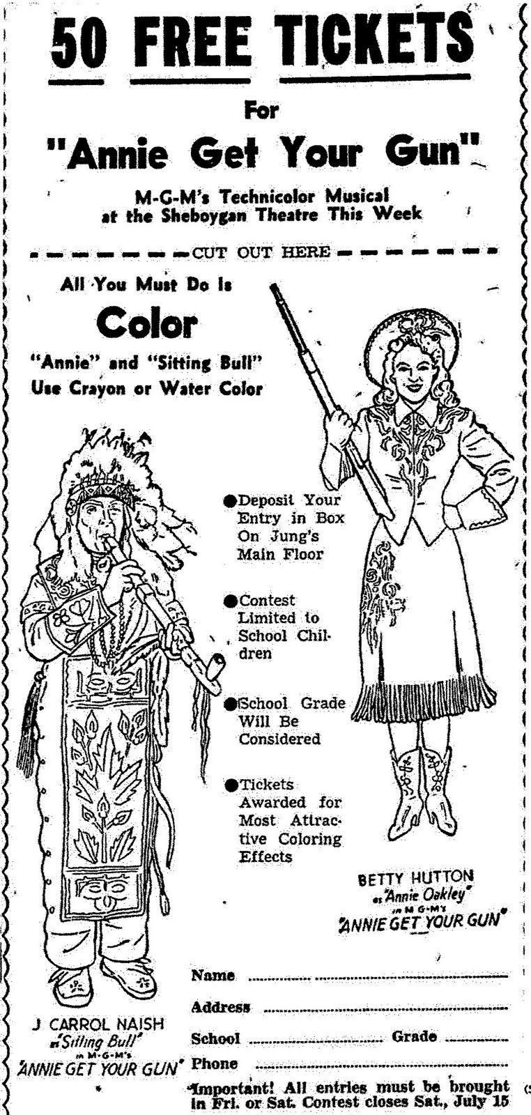 Mostly Paper Dolls: ANNIE GET YOUR GUN Movie Coloring ...