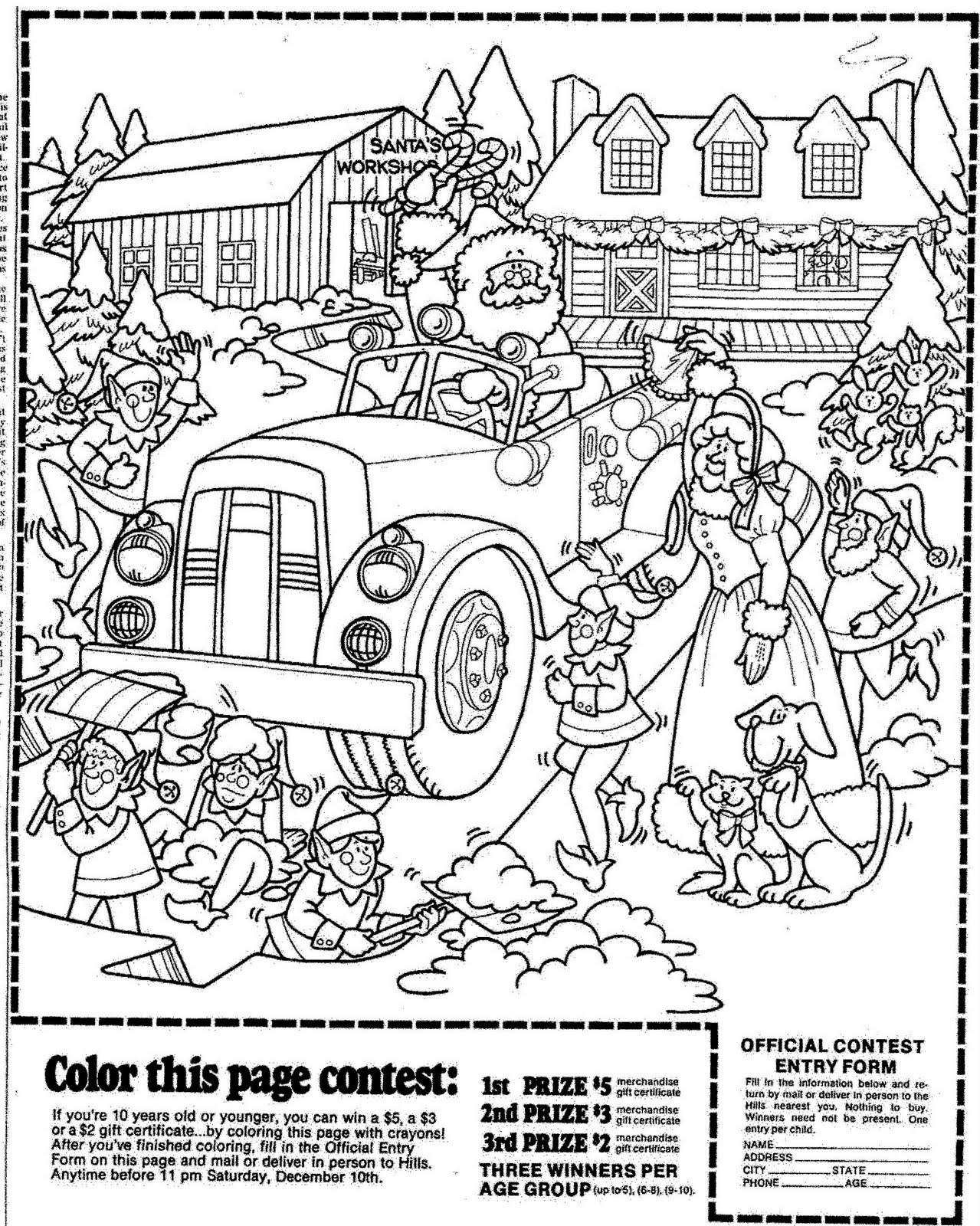 Mostly Paper Dolls: HILL'S Christmas Coloring Contest, 1977