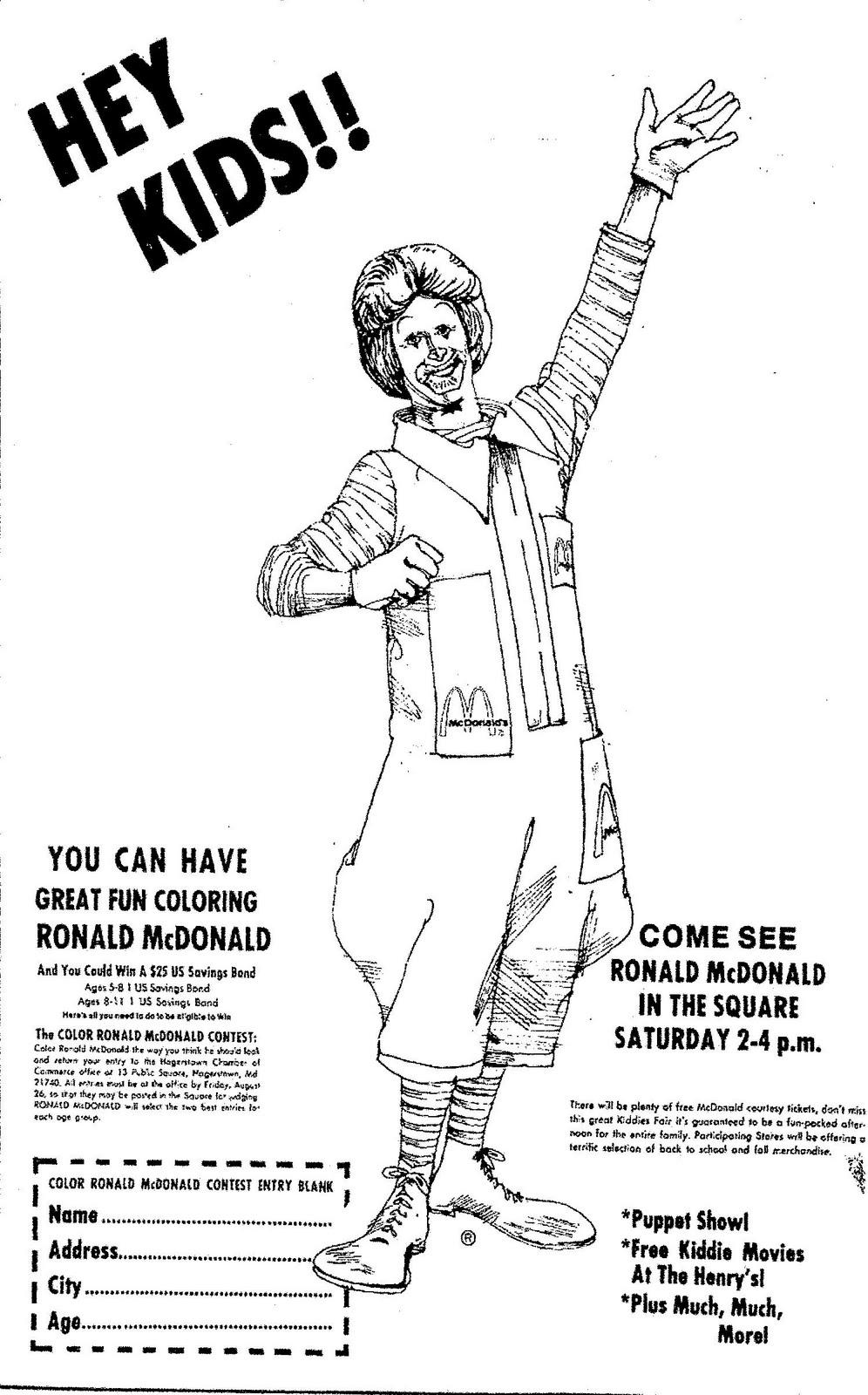 Mostly Paper Dolls: Color Ronald McDonald Contest, 1977