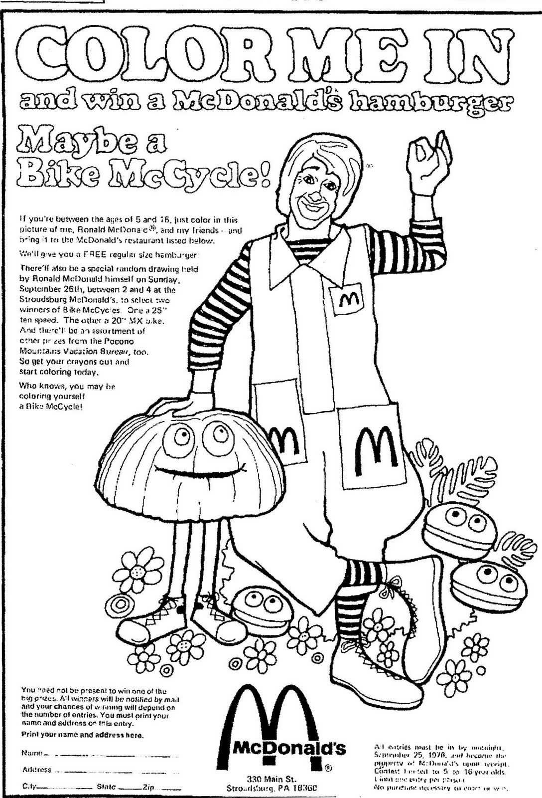 It's just a photo of Crush mcdonalds coloring pages