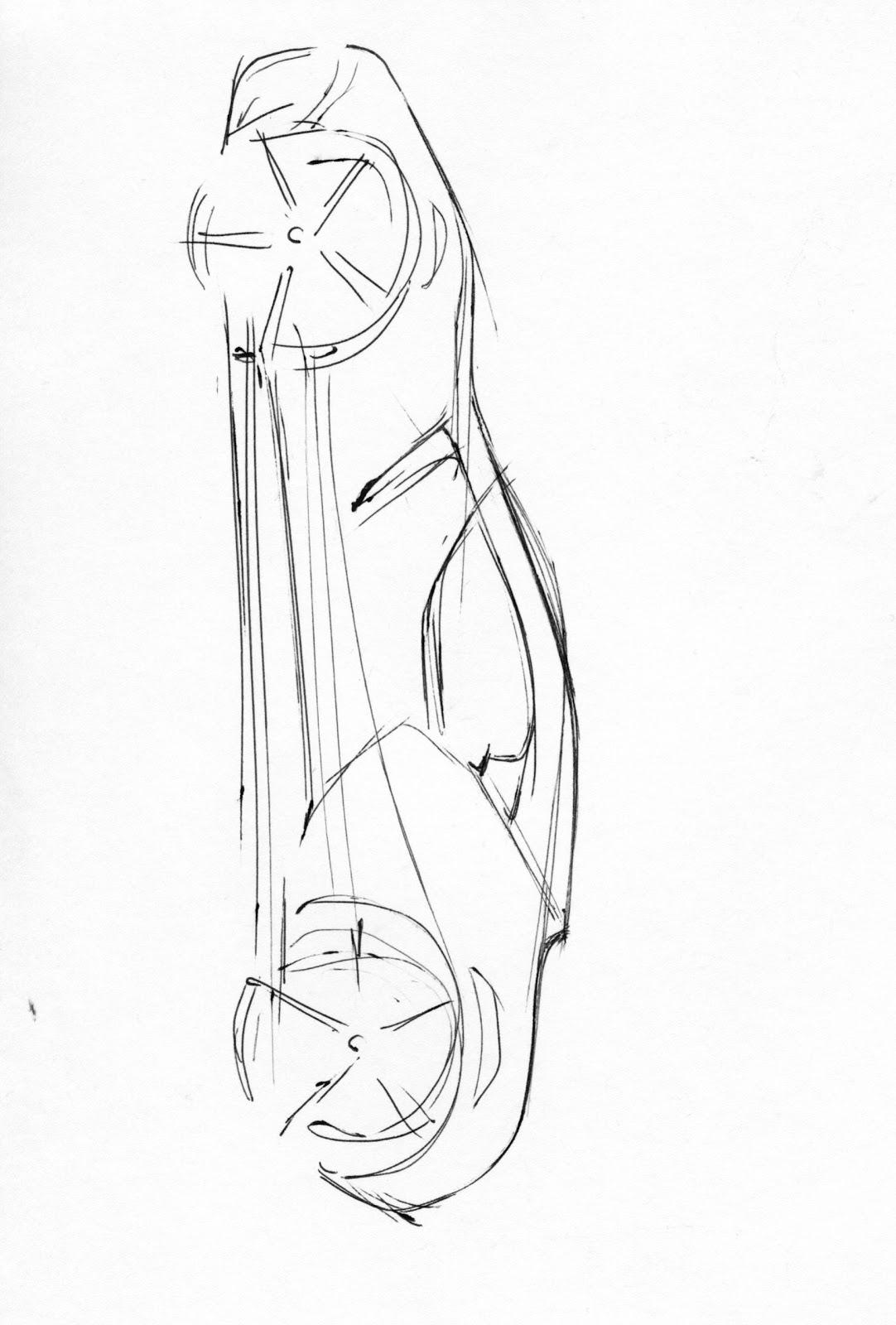 vertical car sketch