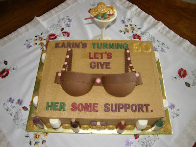 This Cake Was Made For The Surprise Birthday Party Of A Woman Who Turning 50 Joke Very Well Received By All Bra Is From Mixture